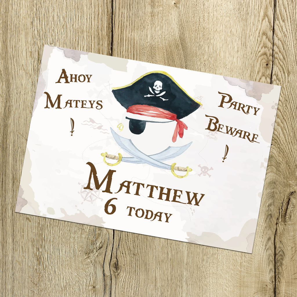 HAPPY BIRTHDAY SIGN - Pirate party Sign,