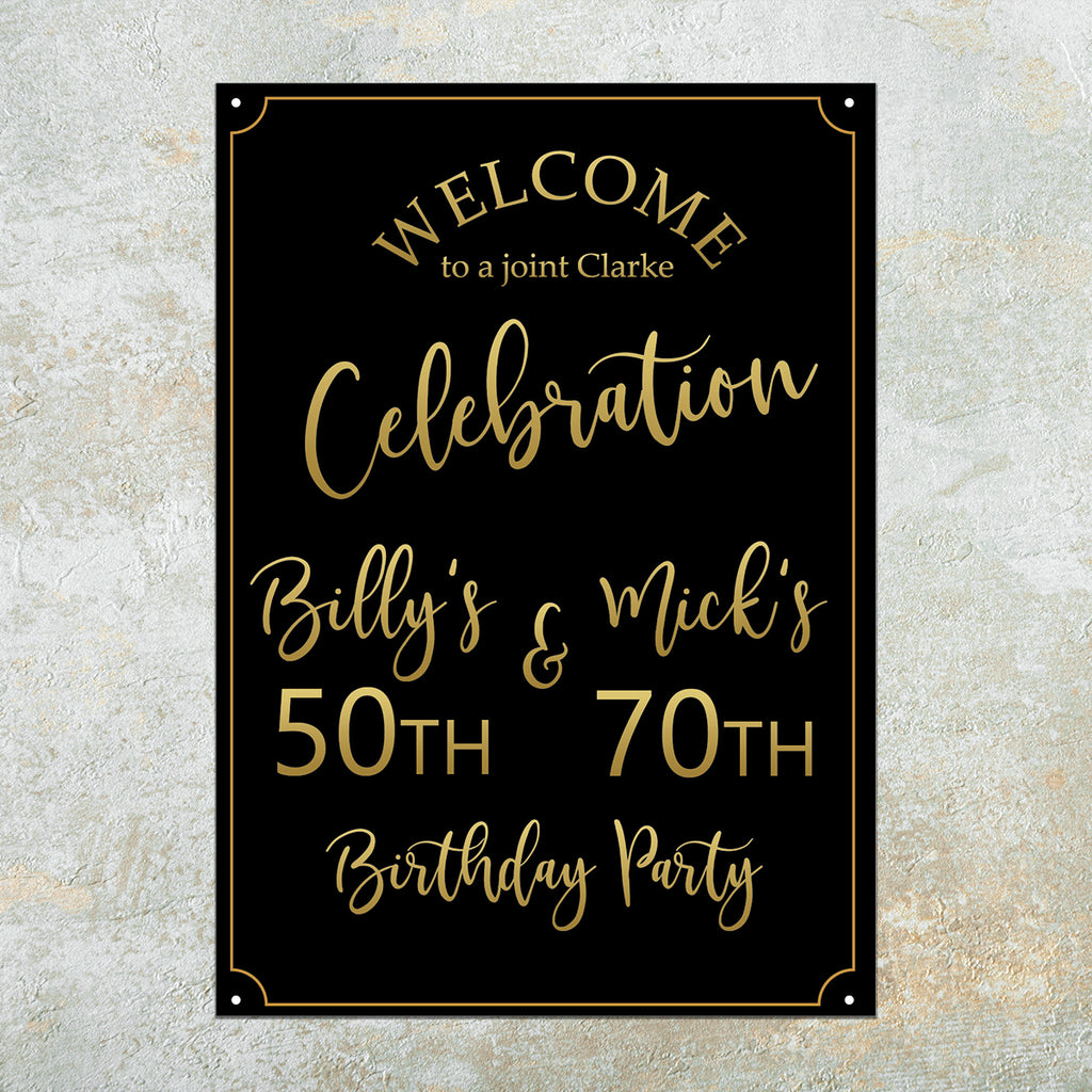 HAPPY BIRTHDAY SIGN - Gold & Black,  Birthday Party Decor, Birthday Sign