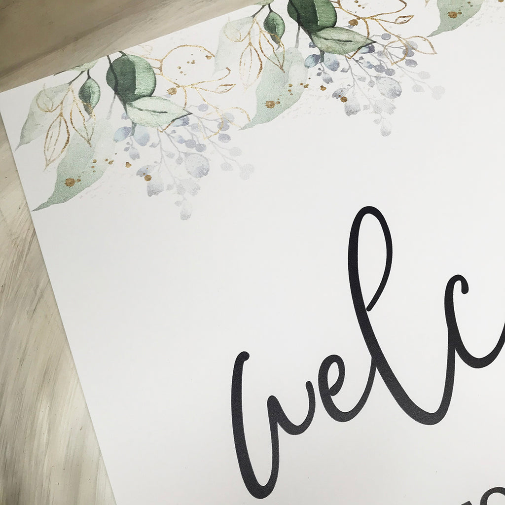 Birthday Welcome Sign -  Foliage Birthday party Sign, party decor