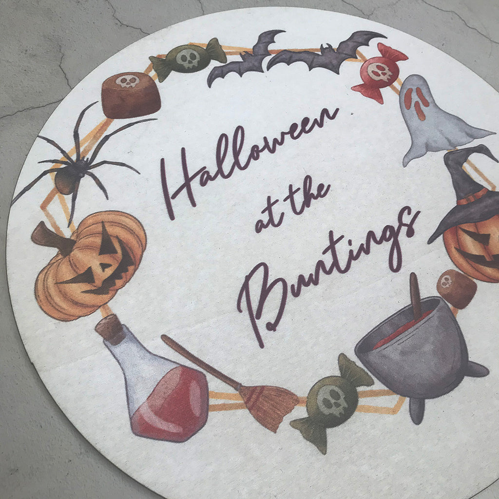 Halloween Sign - Personalised  Round Halloween Sign