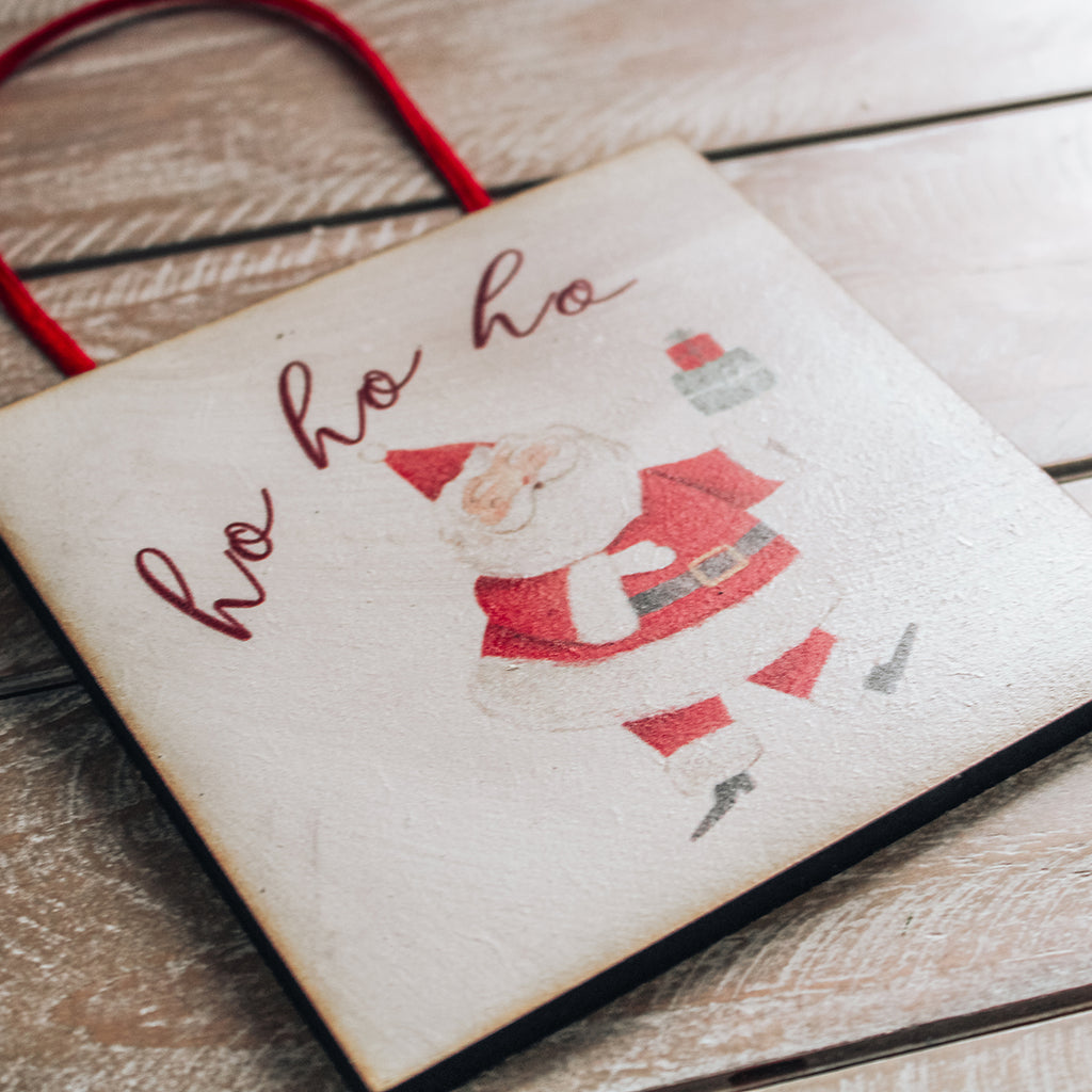 CHRISTMAS SIGN -  Santa Wooden Handcrafted Mini sign
