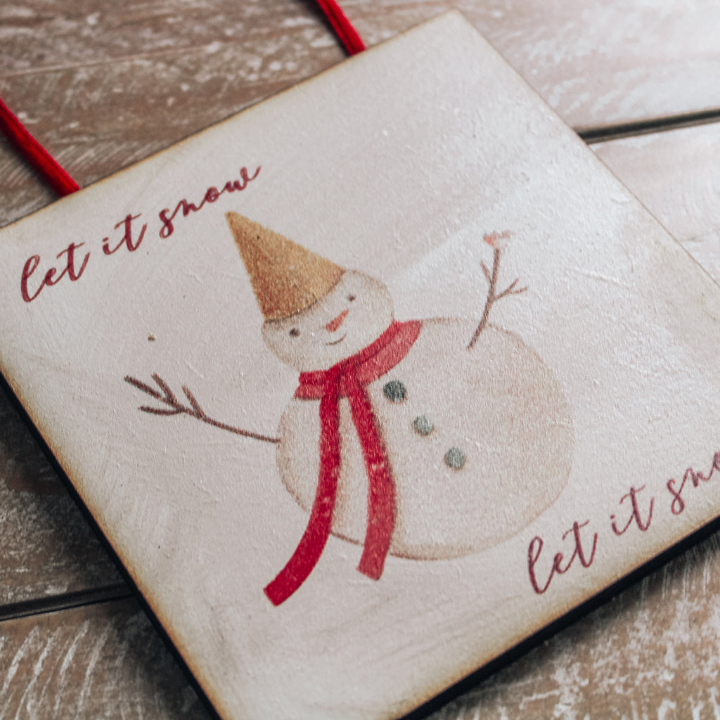CHRISTMAS SIGN -  Let it Snow Mini wooden sign