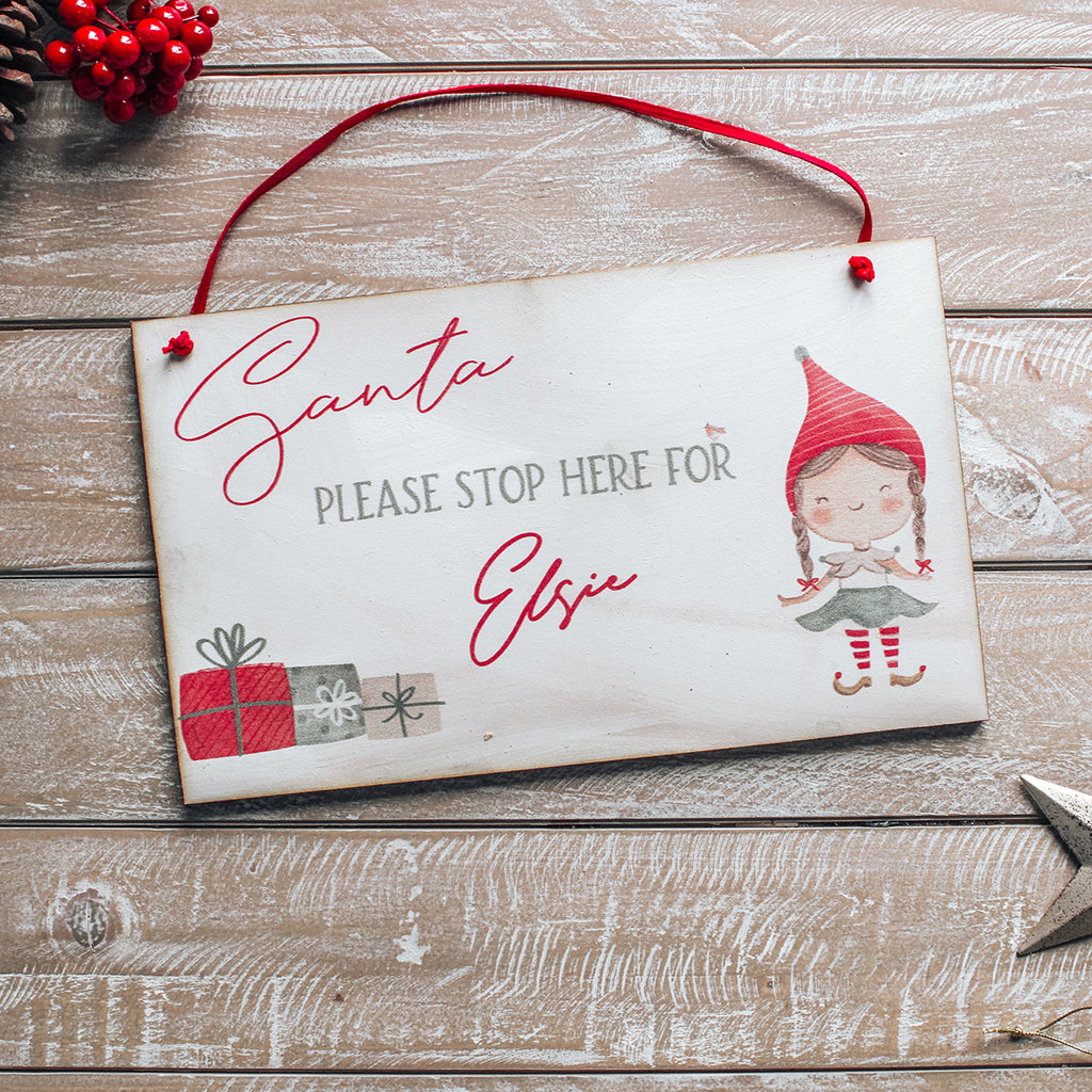 CHRISTMAS SIGN - Personalised  Santa Stop Here Sign