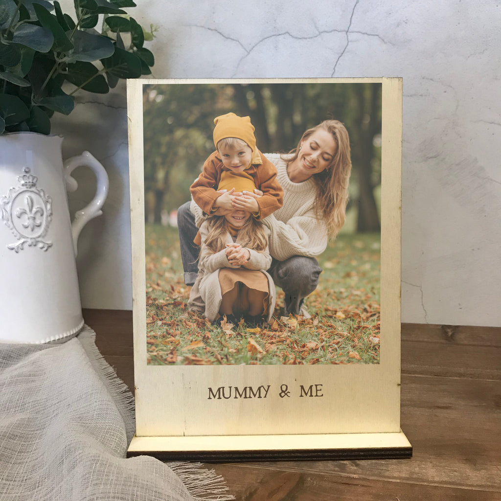 Mummy & Me Freestanding Photo Gift  - Personalised printed wooden freestanding photo