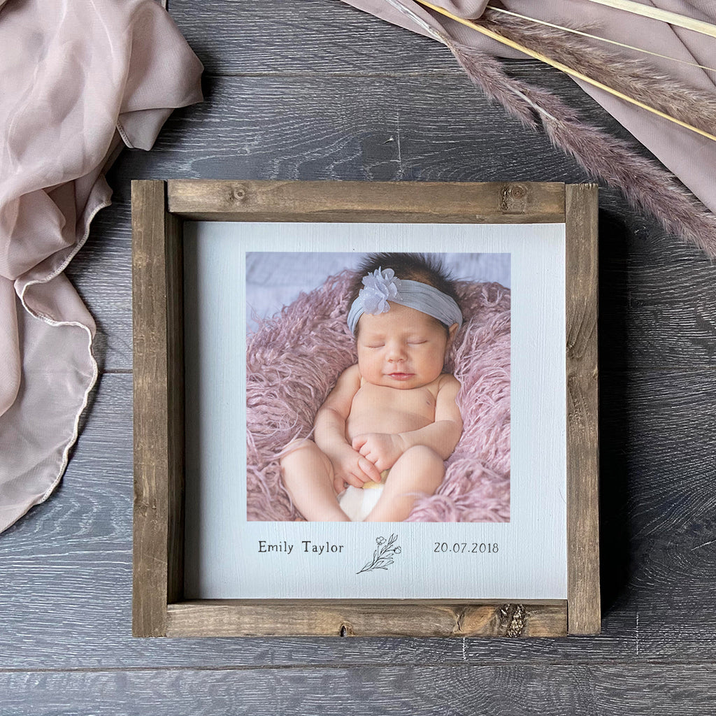 Baby Photo Print Rustic Sign ,Farmhouse Sign , Personalised with your photo