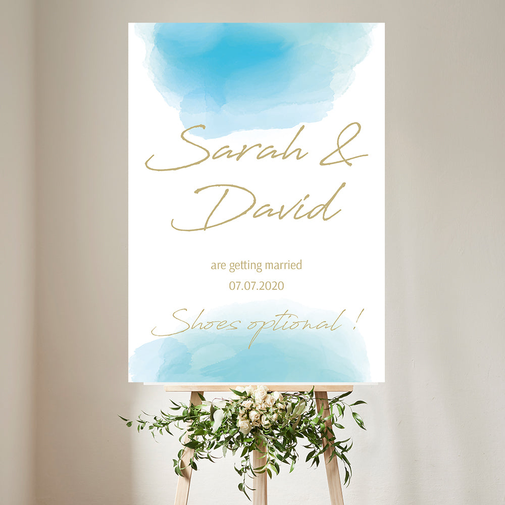 Wedding Welcome Sign Aqua watercolour