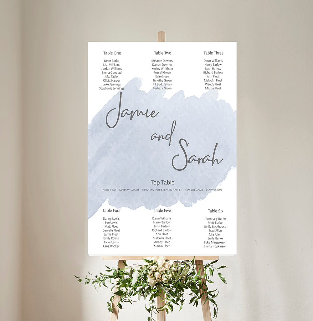 Blue Watercolour Wedding Table Plan