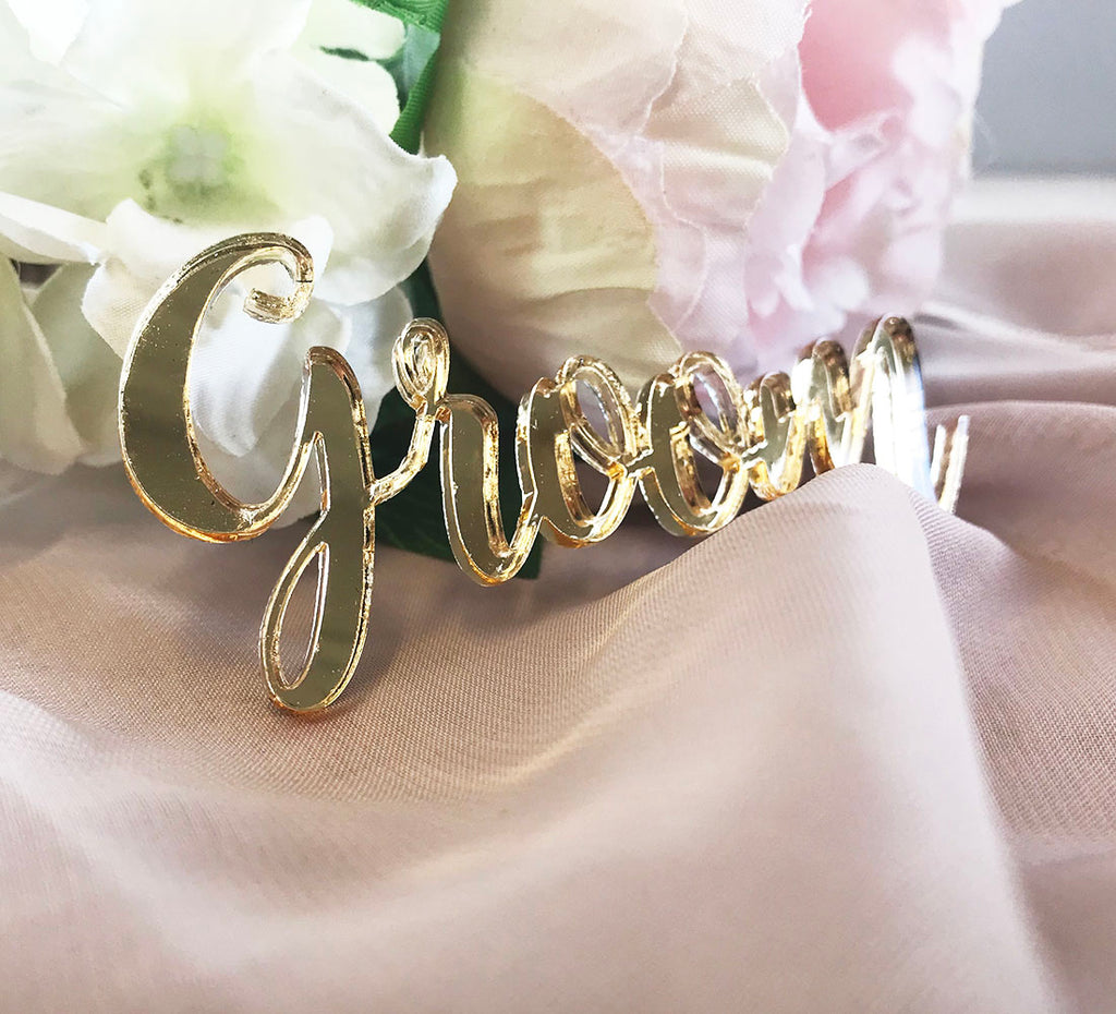 Wedding Place Name  Gold Mirror Script Style