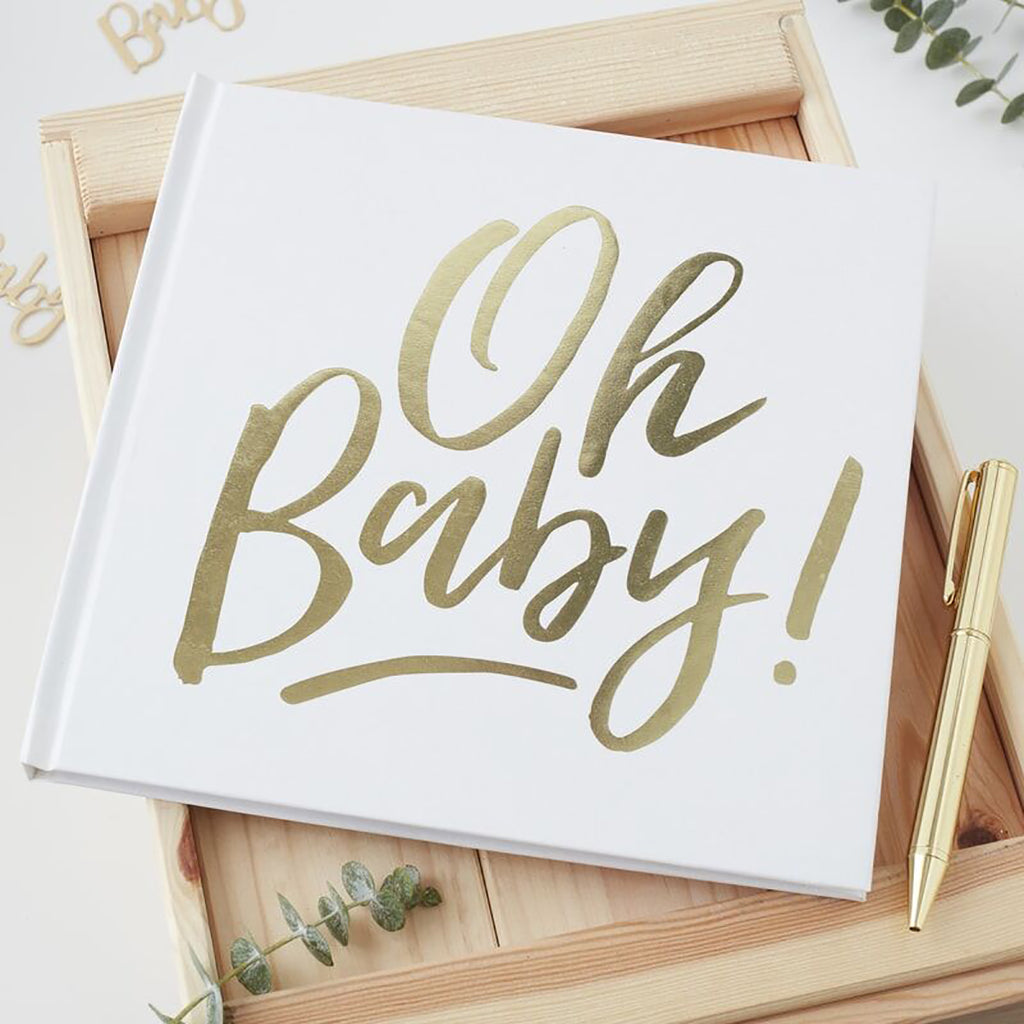 Baby Shower Guestbook - Oh Baby White and Gold