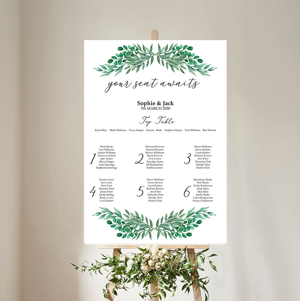 Green Garland Wedding Table Plan