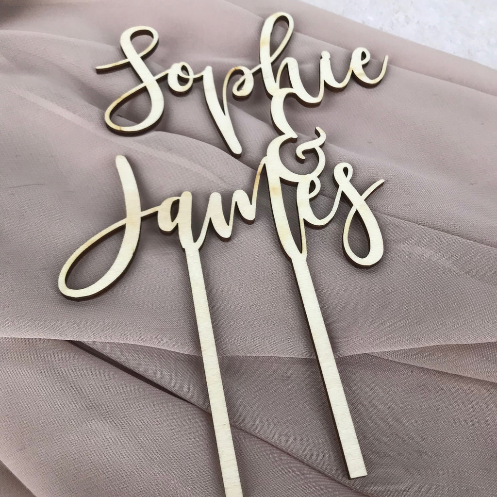 Wooden Calligraphy Cake Topper