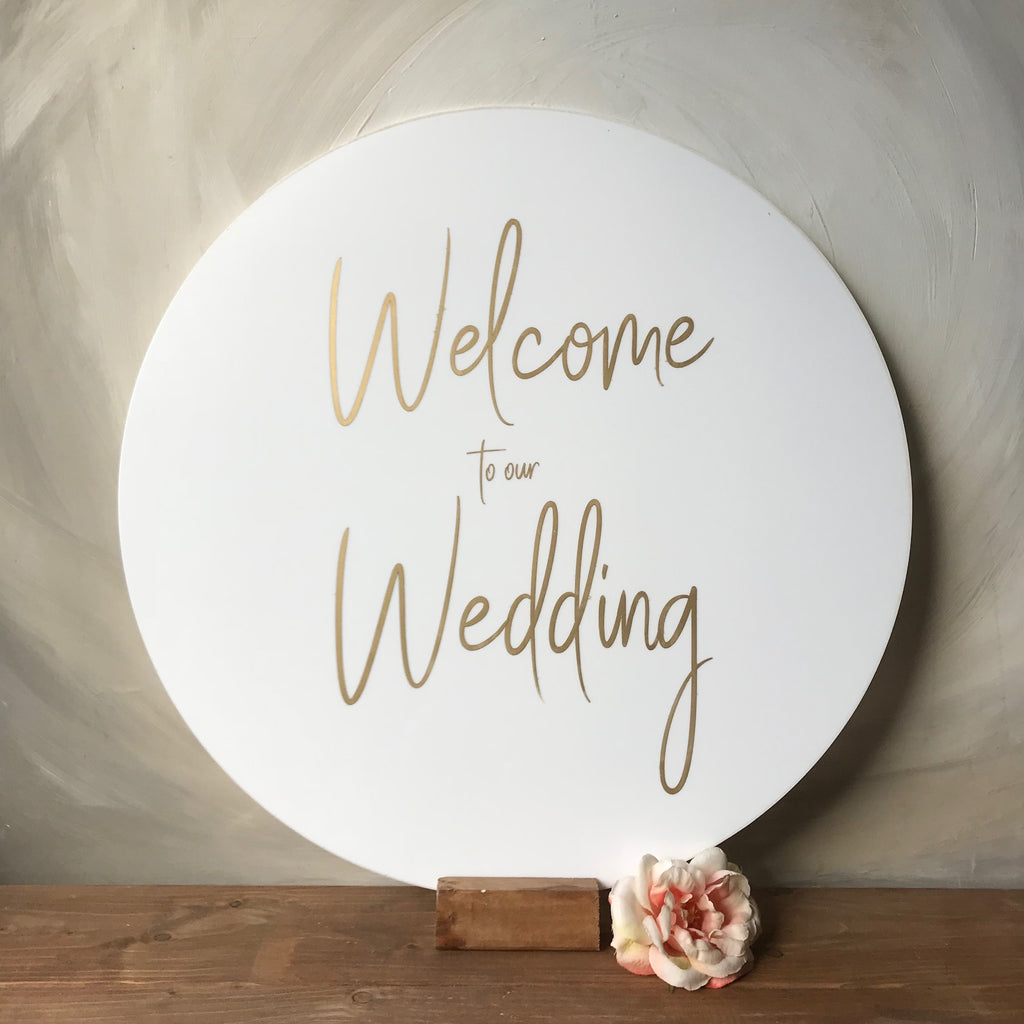 Round White Engraved Acrylic Welcome Sign