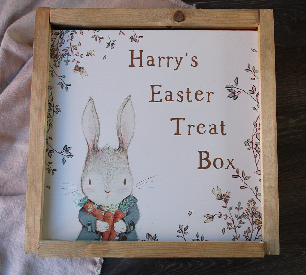 Easter Treat Box - Barny Bunny Personalised Wooden Box