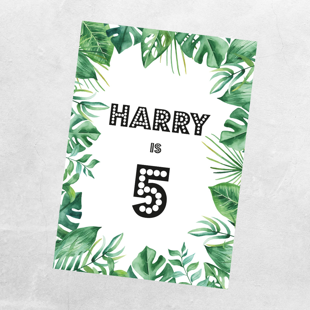Jungle Leaves Birthday Party Sign