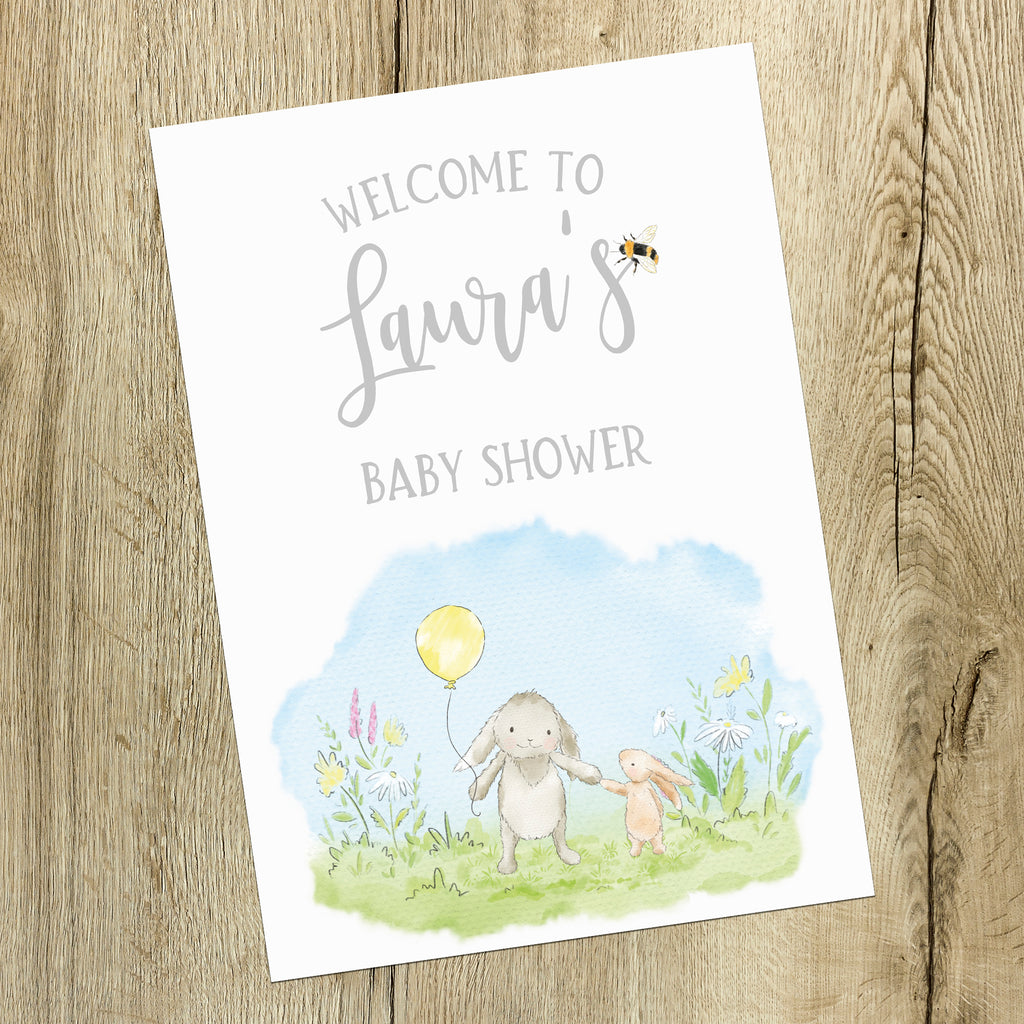 Baby Shower  Sign - Cute Watercolour Bunny