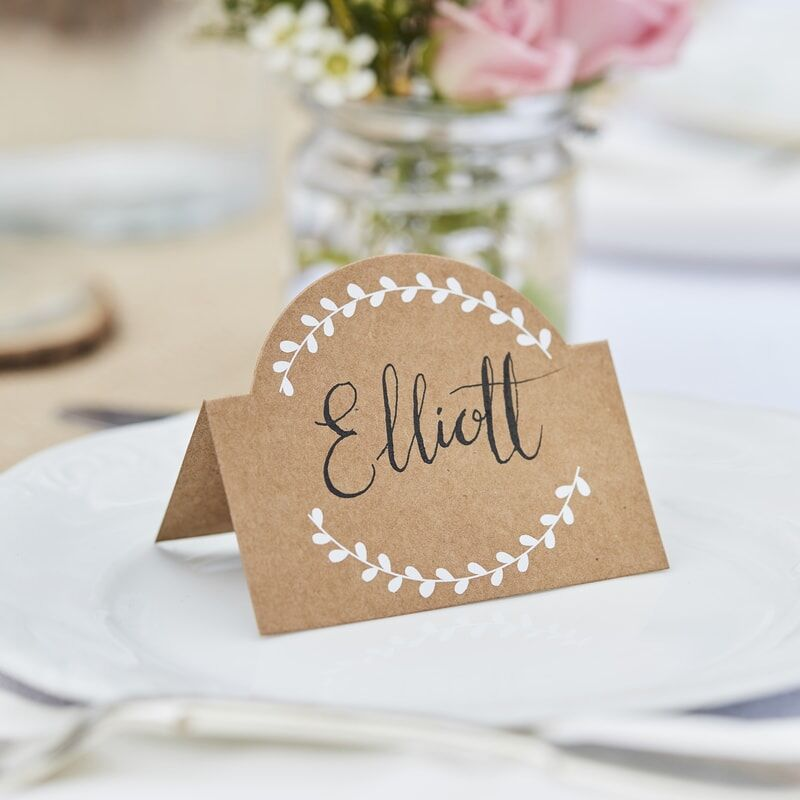 DIY Place Name Kraft card with white Vine