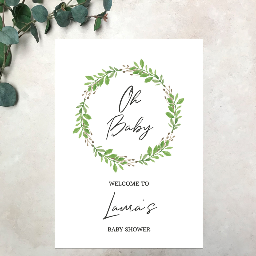 Baby Shower Welcome Sign - Botanical Wreath