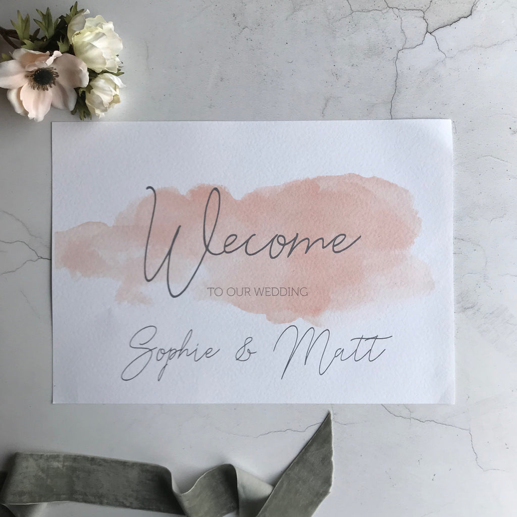 Printed Wedding Sign Blush  Pink Watercolour