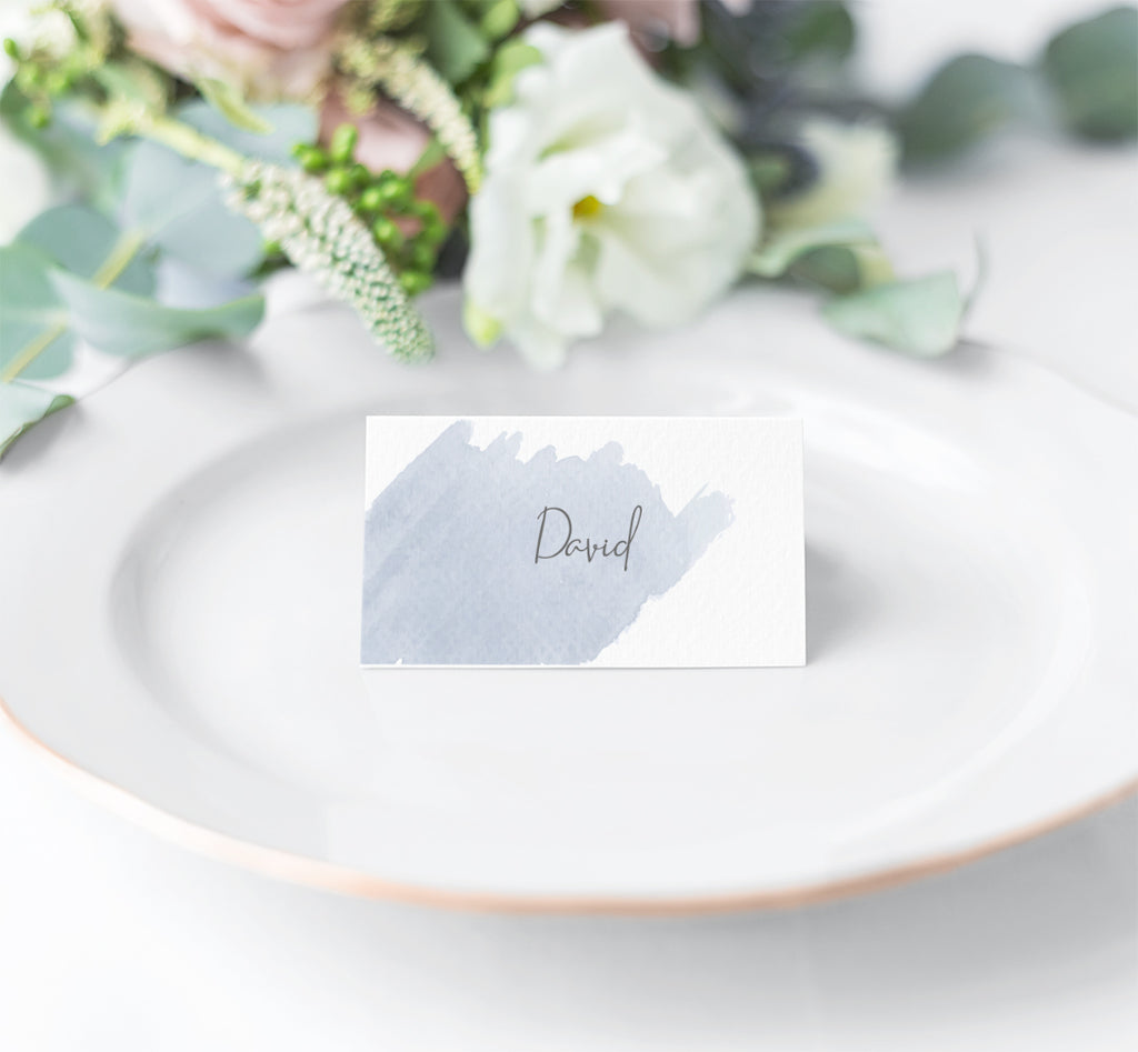 Wedding Place Name - Blue Watercolour