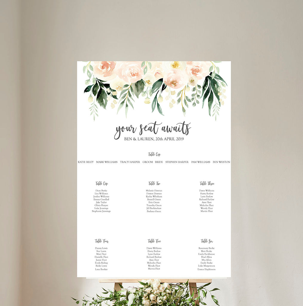 Blush Floral Wedding Table Plan