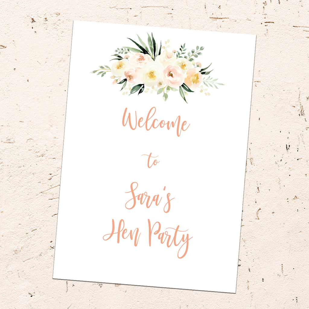 Hen Party Sign - Blush Floral