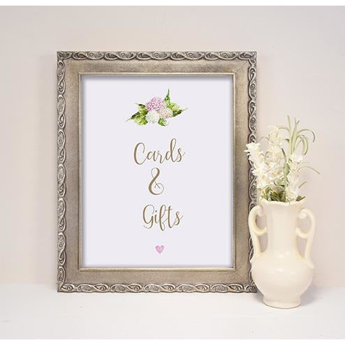 Printed Wedding Sign - Hydrangea Sign Suite, Cards & Gifts, Photobooth, Sweet Table