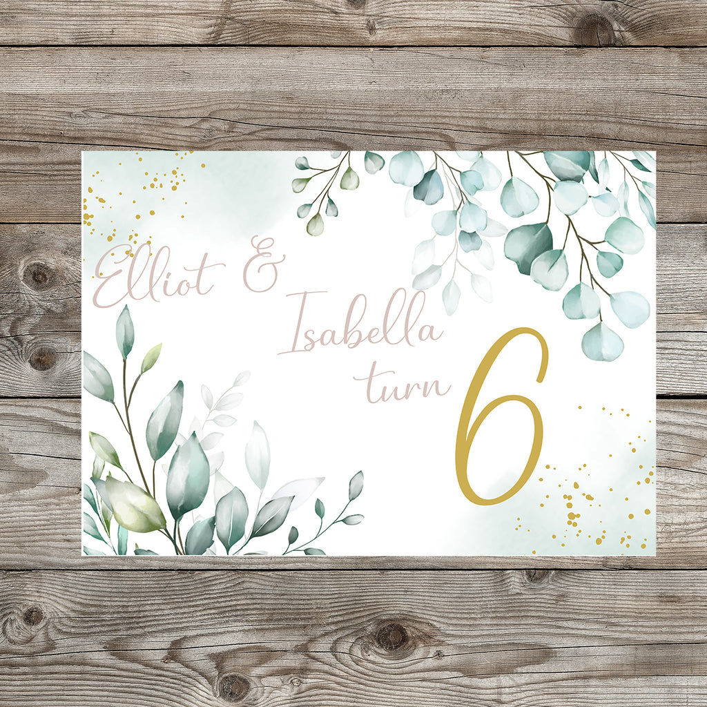 Eucalyptus and White Sand  Birthday Party Sign