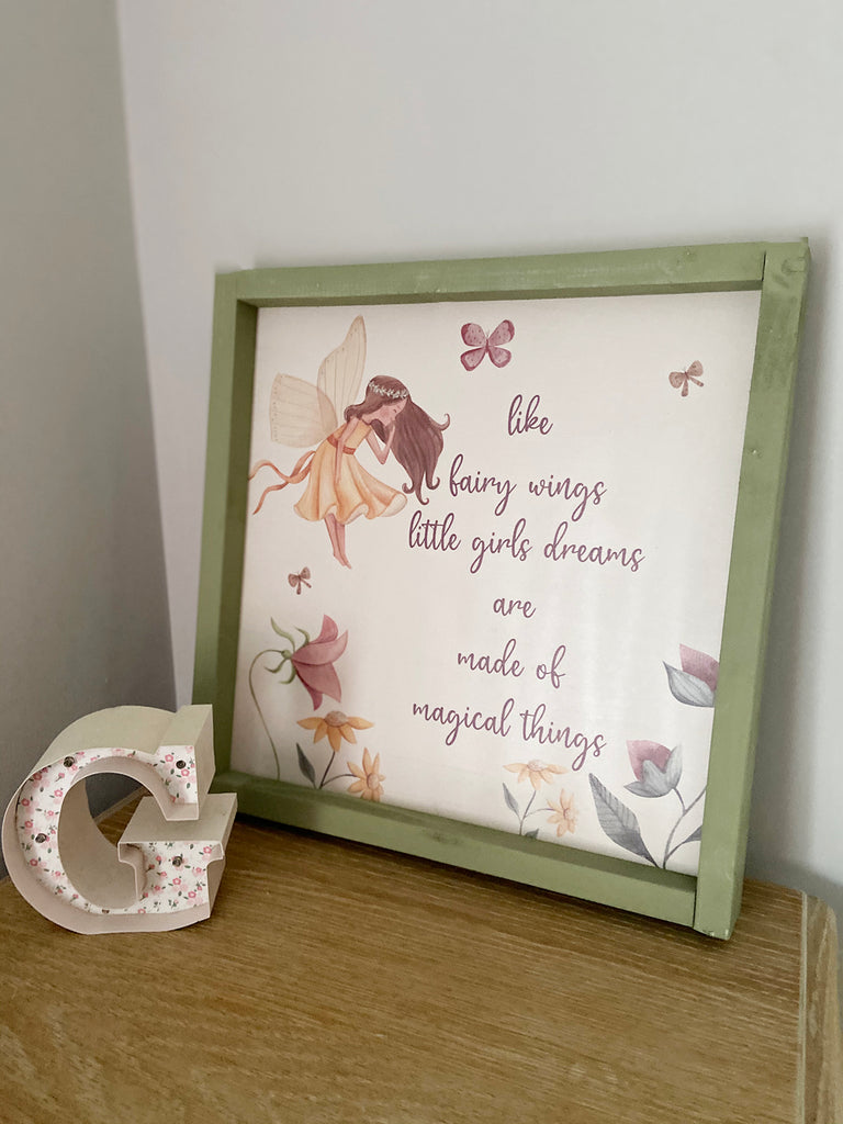 Little Girls Dreams Rustic Frame Sign