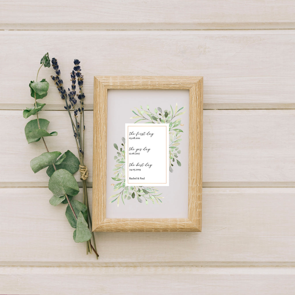 Personalised  First Day Wedding Print