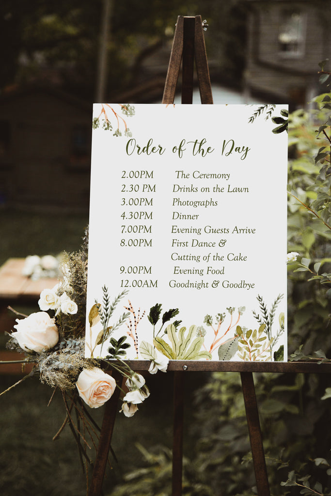Wedding Order of the Day Sign - Forest Foliage