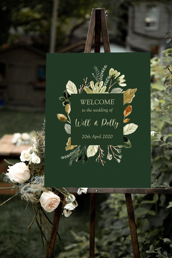 Wedding Welcome Sign - Forest Foliage