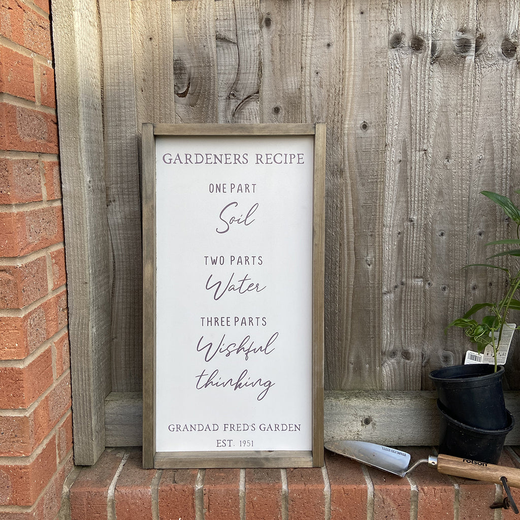 Rustic Frame Gardeners Recipe Outdoor Sign