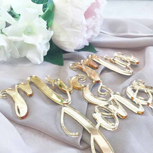 Gold Mirror Calligraphy Cake Topper