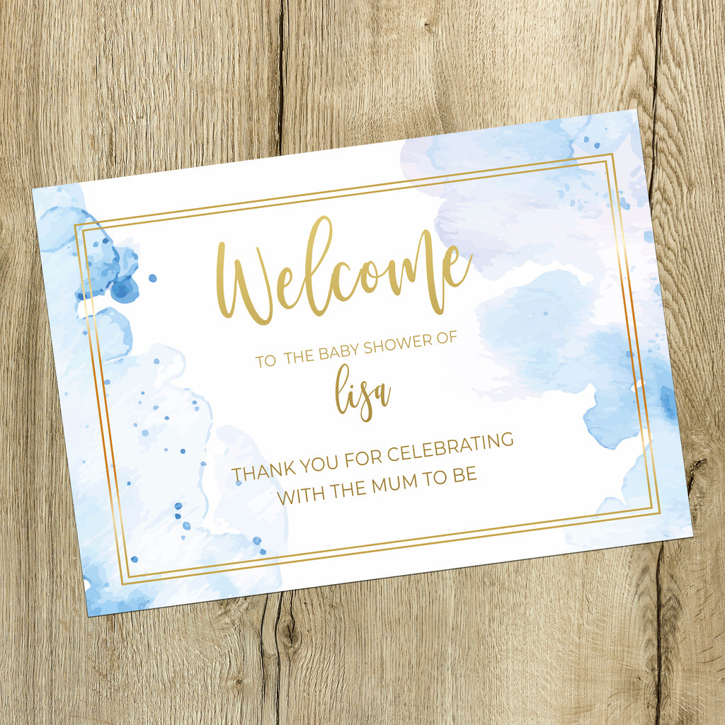 Baby Shower  Sign - Blue and Gold Watercolour