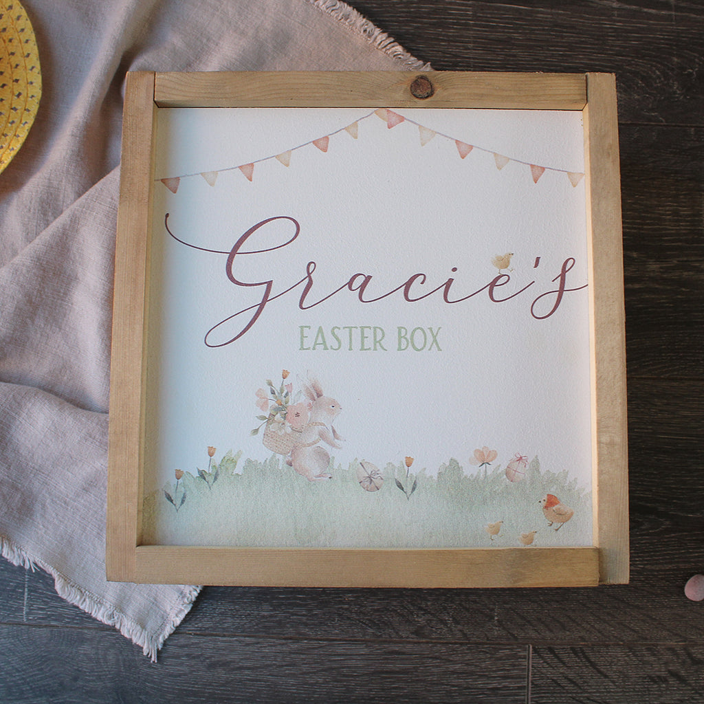 Easter Treat Box - Watercolour Bunny Personalised Wooden Box