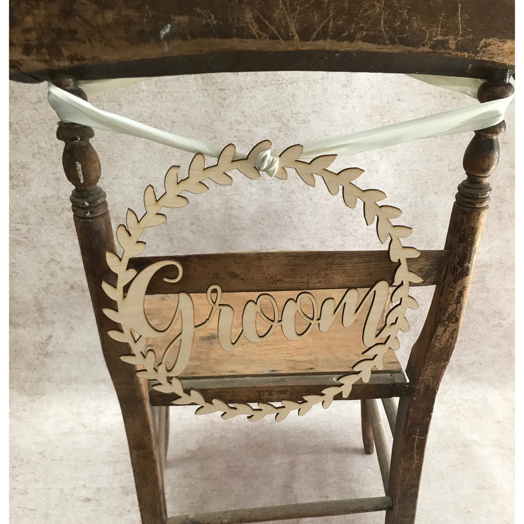Wooden  Bride and Groom  Chair Signs