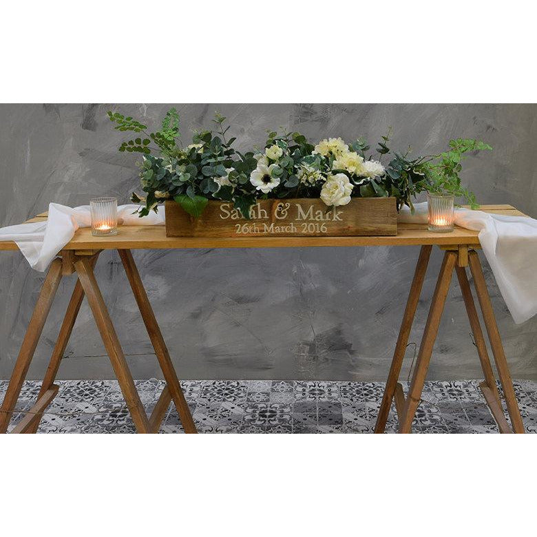 Rustic Wedding Top Table Wooden Planter