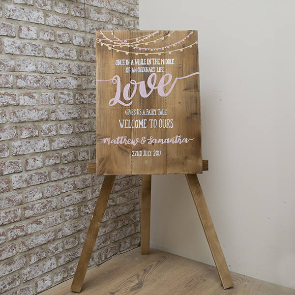Rustic Wedding Sign - Welcome to our Fairytale