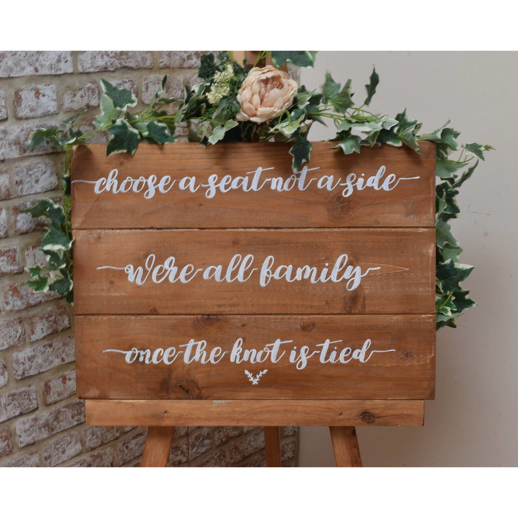 Rustic Wooden Wedding Choose a Seat not a Side Sign
