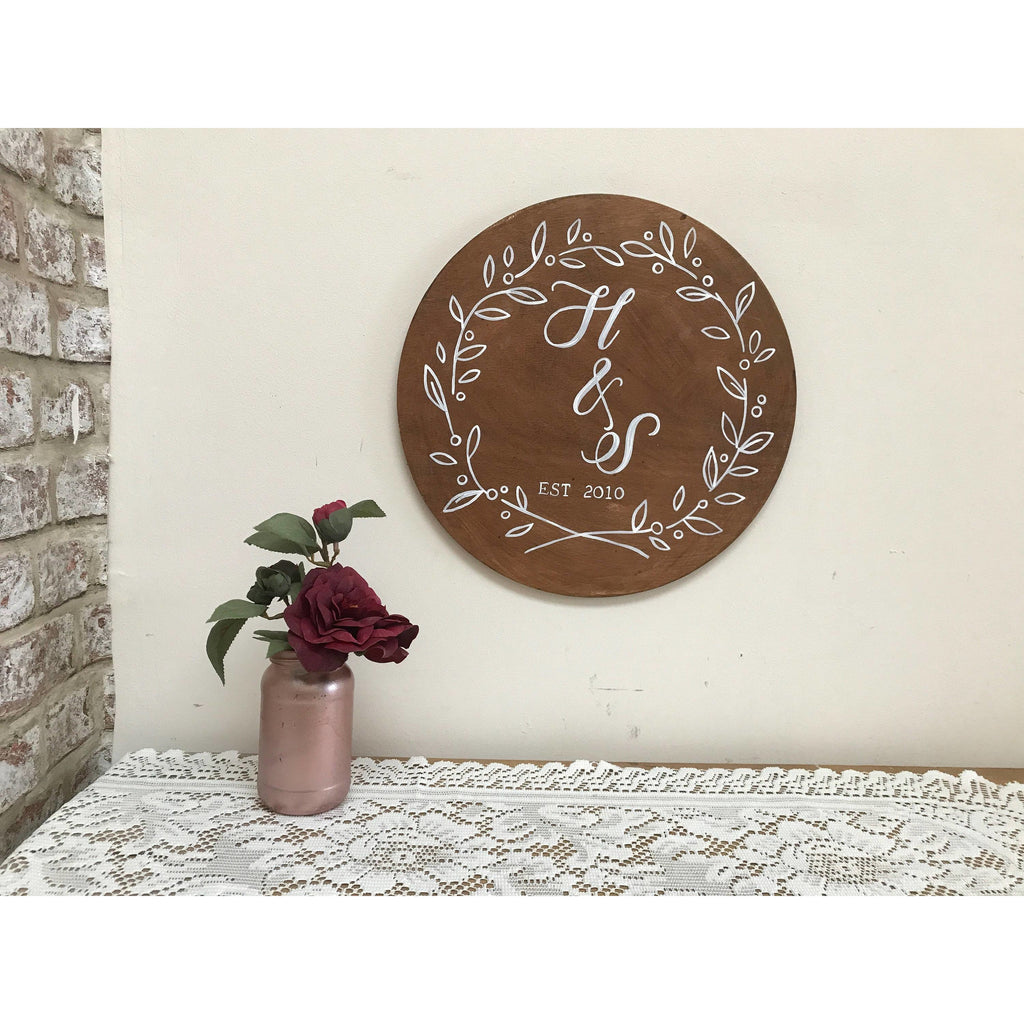 Round Wooden Wedding Sign