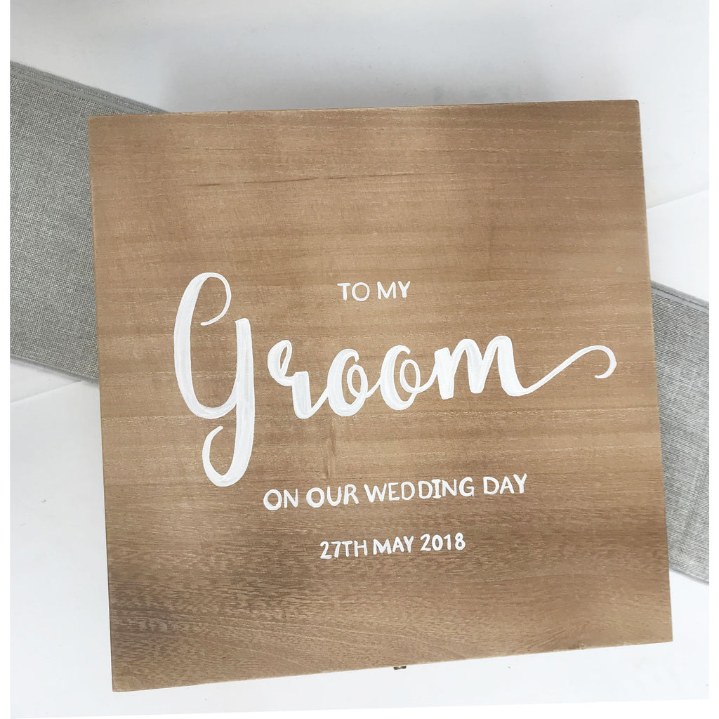 Personalised Wooden Groom Gift Box