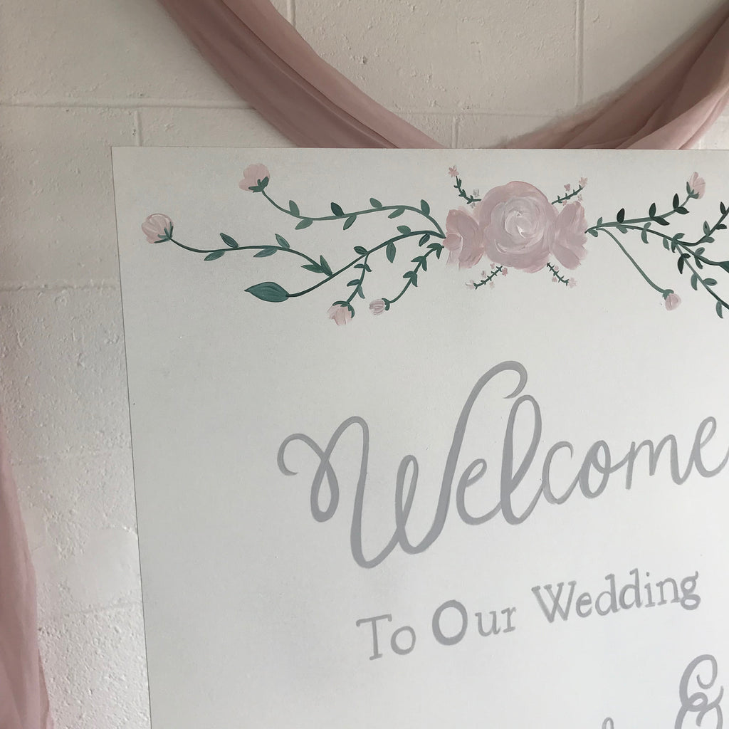 Wedding Welcome Sign - Hand Painted Personalised Sign