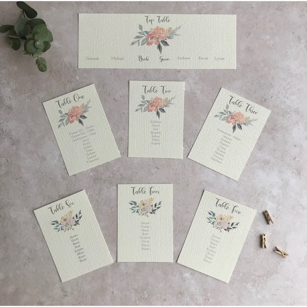 Wedding Table Plan Cards - Floral Watercolour