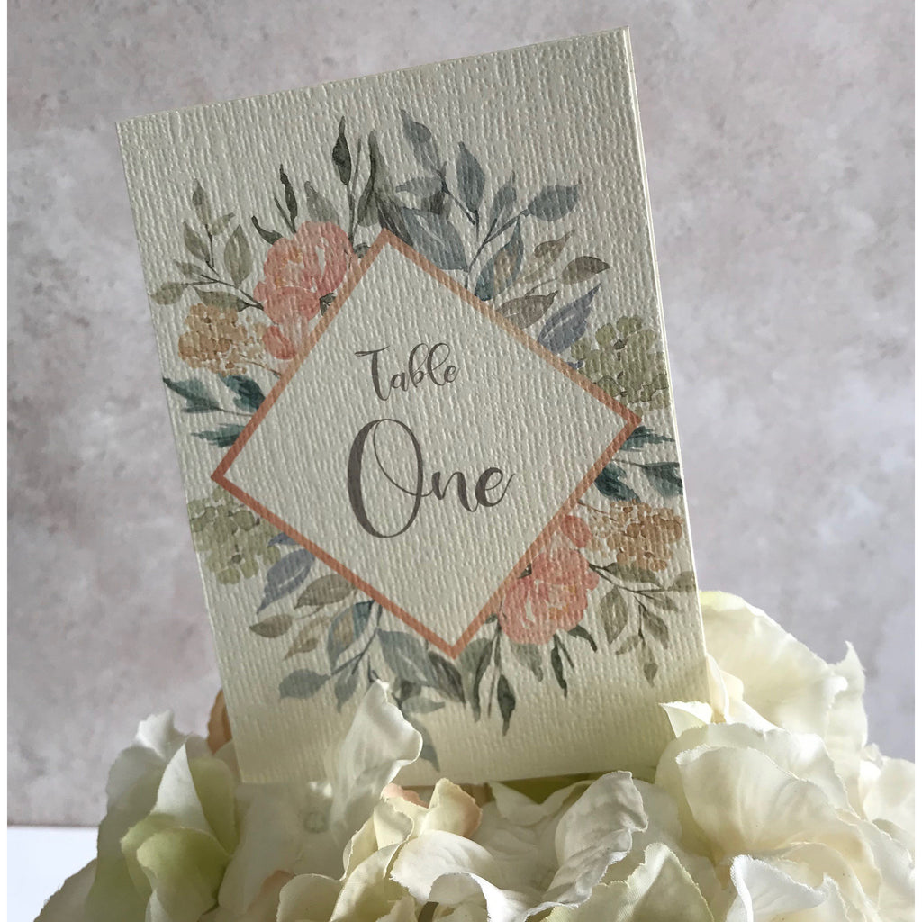 Wedding Table Number - Floral Watercolour