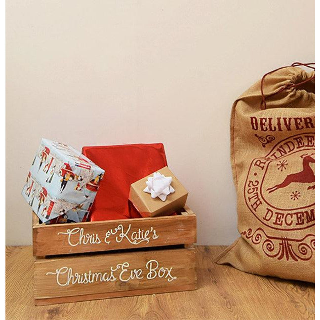 Christmas Eve Crate.Hand Painted Christmas Eve Crate
