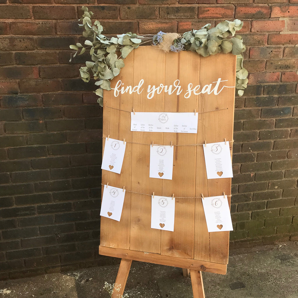 Wedding Table Plan Cards - Rustic Wreath