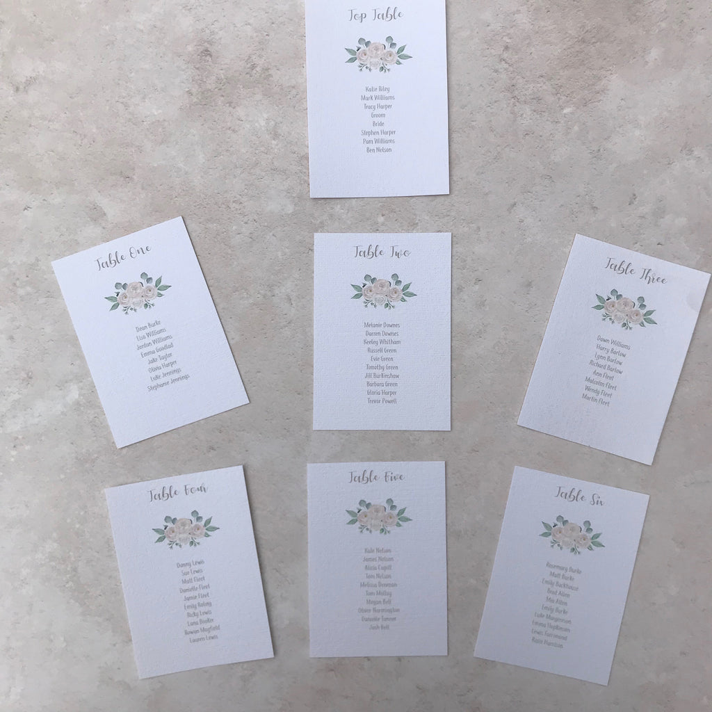 Wedding Table Plan Cards - White Floral