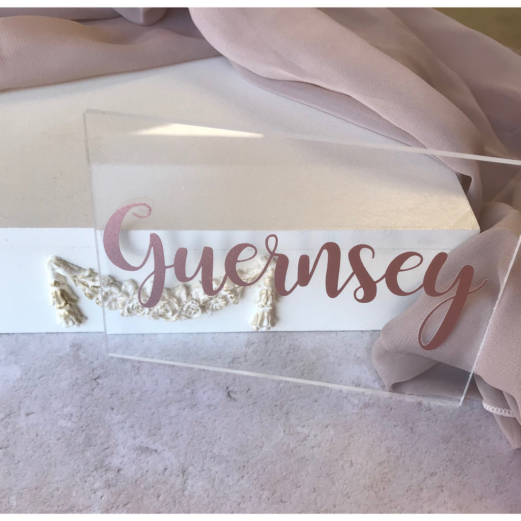 Rose Gold Clear Table Number