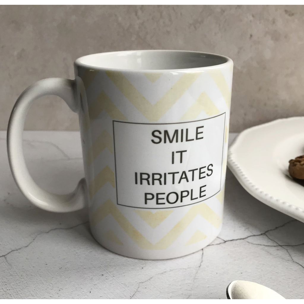 Humorous Mug, Christmas Gift, Smile it irritates people