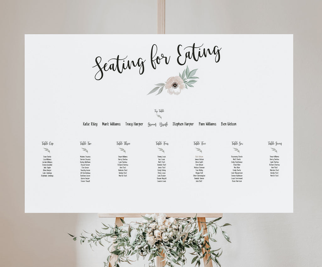 Wedding Seating Plan - Grey and Pink Seating for Eating